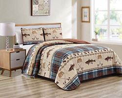 River Fly Fishing Themed Rustic Cabin Lodge Quilt Stitched Bedspread Bedding Set