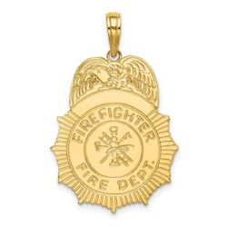 14k Yellow Gold Firefighter Fire Dept. Badge Charm L- 24.5mm, W-19.6mm
