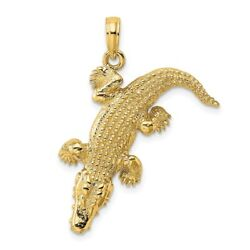 14k Yellow Gold 3-d Alligator W/moveable Mouth Charm L- 22mm, W-28.9mm