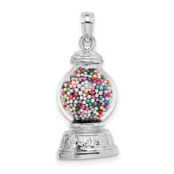 14k White Gold 3-d Moveable Gumball Machine Glass Pendant L- 19.66mm, W-11.6mm