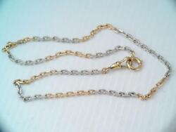 Antique Heavy Solid 14k Rose Gold And Platinum Pocket Watch Chain Necklace 19.2 G