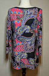 Size M Women's Tunic Top Paisley 3/4 Sleeves Stretchy