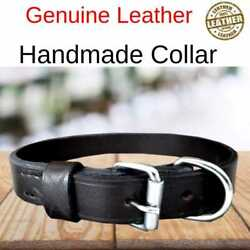 Real Leather Dog Collar Soft 1quot; Wide Strong Pet Collar For Medium Large Breeds
