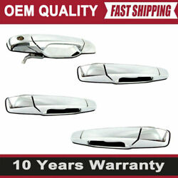 4x Door Handles Front Rear Right Left For 07-13 Chevy Tahoe Gmc Sierra Outside