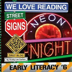 We Love Reading Street Signs Neon Night, Like New Used, Free Shipping In The Us