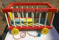 Fisher Price Vtg Big Performance Donor Circus Wagon Toy Wooden 1960s 900 Htf