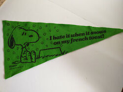 """Snoopy Charlie Brown Charles Schultz Pennant 1958 31"""" Snows On My French Toast"""