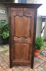 Antique French Country Tall Single Door Armoire Oak Carved Hand-forged Hardware