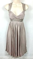 Spotlight By Warehouse Nude Pink Fit And Flare Dress With Silk Trim Size 12
