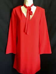 Topshop Red Aline Short Dress With Tie Neck And Bell Sleeves Size 10