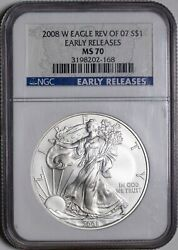 2008 W Rev Of And03907 Ngc Ms70 Early Releases American Silver Eagle Itemp13375