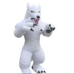 Halloween Inflatable White Long Fur Wolf Mascot Costume Party Game Dress Adults