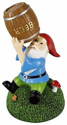 Beer Guzzling Gnome Statue - Indoor/outdoor Funny Lawn Gnome 8.45 Tall Garden