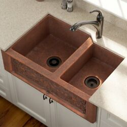 Hand-hammered Copper Farmhouse Apron Kitchen Sink Offset Double Bowl