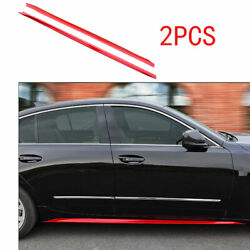 Fit For Cadillac Ct5 2019-2021 Abs Red Side Skirt Bodykit Spoiler Lip Trim 2pcs