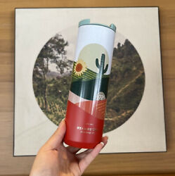 Starbucks China 2021 The Hedgehog And Desert And Cactus 16oz Stainless Tumbler Red