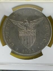Us Philippines One Peso 1904-s Ngc Au 53 Better Date Toned