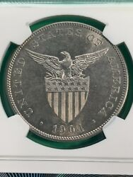 Us Philippines One Peso 1904-p Ngc Ms 62 Semi Key Date Hint Of Gold Toning