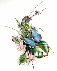 Bovano - Wall Sculpture - Blue Morpho Butterfly W/ Fern And Orchids