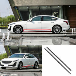 Fit For Cadillac Ct5 2019-2021 Abs Gray Side Skirt Bodykit Spoiler Lip Trim 2pcs