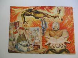 Jose Perea Painting Of Diego Rivera Siqueiros Mexican Social Realist Surrealism
