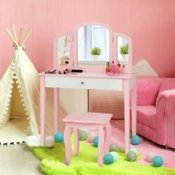 Tri Folding Mirror And Chair For Kids Princess Make Up Dressing Table Good Gift