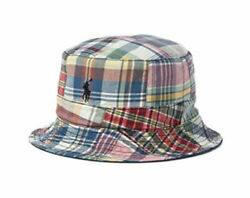 Polo Reversible Madras Bucket Hat Pony Logo New With Tags