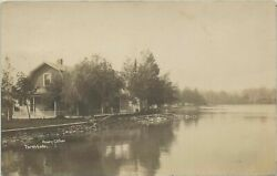 Nw Torch Elk Lake Mi Rppc C.1915 Great Wrap-around Porch At The Hendry Cottage
