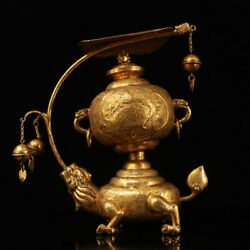 10.8 Old China Copper 24k Gold Gilt Dynasty Dragon Turtle Pendant Lamp Statue