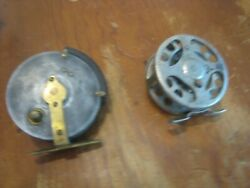 2 Antique Fly Reels Wilkes Osprey England Brass Fishing Reel And Old Pflueger See