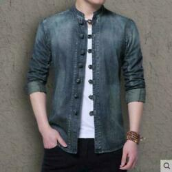 Mens Denim Tang Suit Jackets Jeans Casual Work Coat Chinese Style Chic Outwear