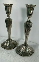 Pair Towle Silversmith Weighted Candlestick Holders Scroll Etched Design 9 Tall