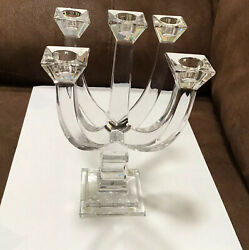 """Royal Doulton Crystal Clear Glass Ciclo Lyon 5 Arm Candle Holder Austria New 9"""""""