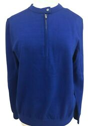 Rlx Womens Royal Blue Golf 1/4 Zip Knit Pullover Large New