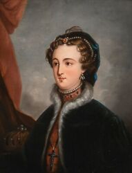 19th Century English School Portrait Of A Young Queen Victoria Antique Painting