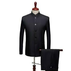 Menand039s Chinese Tunic Suit 2pcs Formal Outwear Coat Slim Fit Stand Collar Casual