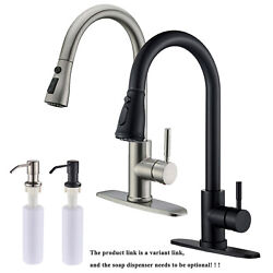 Kitchen Sink Faucet Single Handle Pull Out Sprayer Mixer Taps W/soap Dispenser