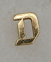 14k Solid Yellow Gold Initial D Tie Tack Pin Back .66g