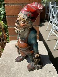 Vintage Cast Iron Gnome With Light And Keys Full Figure Doorstop