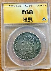 1809 50c Anacs Au Details Capped Bust Silver Half Dollar Scarcer Date
