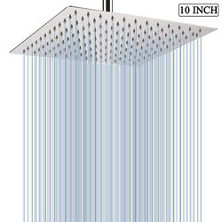 10andrdquo Ultra-thin Rainfall Shower Head Square Overhead Shower High Pressure Faucet