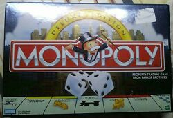 1998 Monopoly Deluxe Edition Wooden Houses And Hotels And Gold Tokens Complete