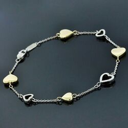 And Co. 18k Yellow And White Gold Open Heart Link Chain Bracelet 7.5