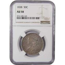 1838 Capped Bust Half Dollar Au 58 Ngc 90 Silver 50c Us Type Coin Collectible