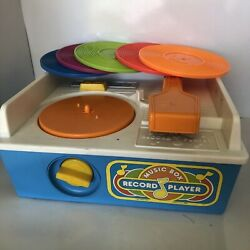 Vintage 1987 Fisher Price Music Box Record Player Wind Up 5 Discs Works Same Day