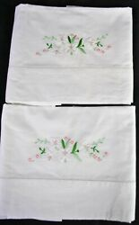 Vintage Embroidered White Flowers Pillowcases 1930's Unused Clean
