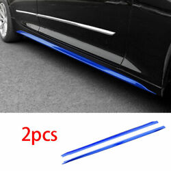 Fit For Cadillac Ct5 2019-2021 Abs Blue Side Skirt Bodykit Spoiler Lip Trim 2pcs