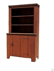 Painted Step Back Cupboard Hutch Primitive Farmhouse Rustic Country Furniture