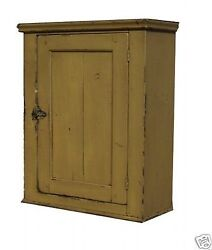 Primitive Country Painted Hanging Wall Medicine Cabinet Farmhouse Cupboard Pine