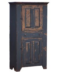 Painted Pantry Cupboard Primitive Farmhouse Rustic Kitchen Cabinet Furniture